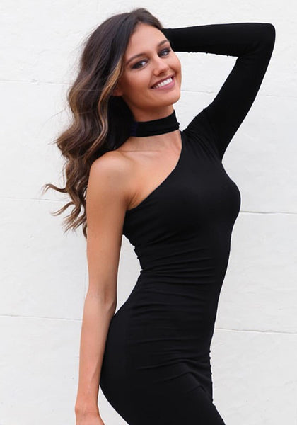 Black Zipper Asymmetric Shoulder Fashion Midi Dress