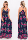 Dark Blue Floral Print Lace Spaghetti Strap Bohemian Floor Length Maxi Dress