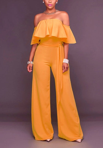 Yellow Ruffle Double-deck Drawstring Waist Fashion Long Jumpsuit