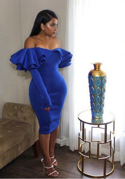 Blue Zipper Cascading Double Ruffle Off Shoulder Backless Long Sleeve Party Midi Dress