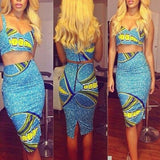 Sky Blue Cartoon Print Sequin Sleeveless Two Piece Slit Bodycon Midi Dress