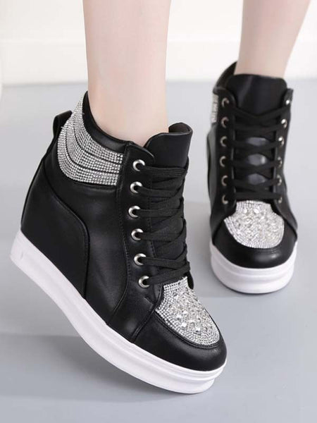 New Black Round Toe Rhinestone Lace-up Casual Ankle Shoes