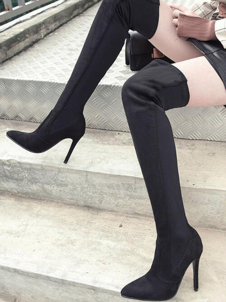 Black Point Toe Stiletto Fashion Over-The-Knee Boots