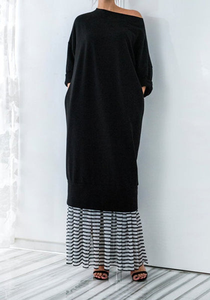 Black Plain Patchwork Draped Long Sleeve Fashion Maxi Dress