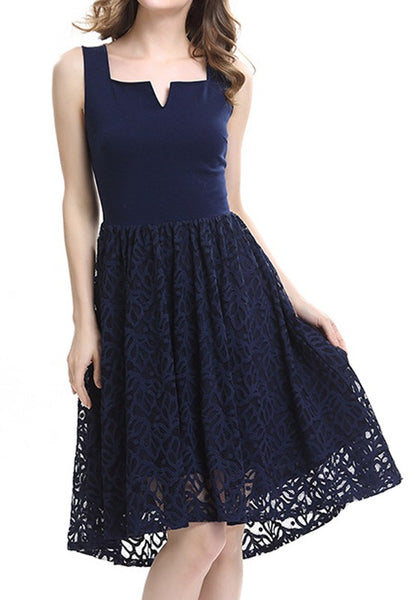 Navy Blue Patchwork Lace Zipper Bridesmaid Sleeveless Elegant Midi Dress