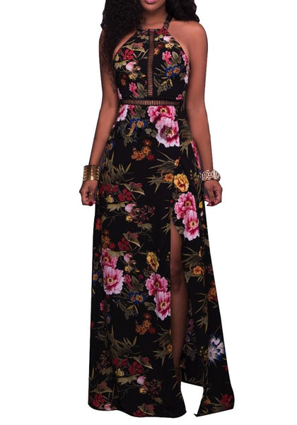 White Floral Print Tie Back Buttons Cut Out Side Slit Fashion Maxi Dress