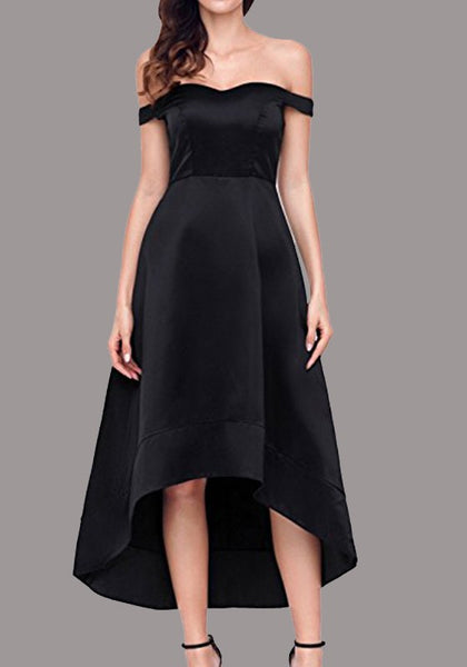 Black Irregular Off Shoulder Backless High-low Elegant Party Maxi Dress