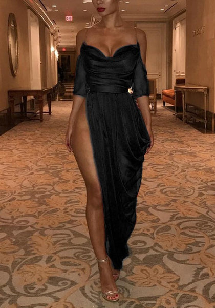 Black Irregular Pleated High Side Slits Spaghetti Strap Backless Banquet Party Maxi Dress