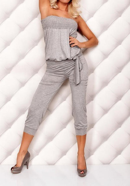 Grey Pleated Off Shoulder Backless Lace Up Long Jumpsuit
