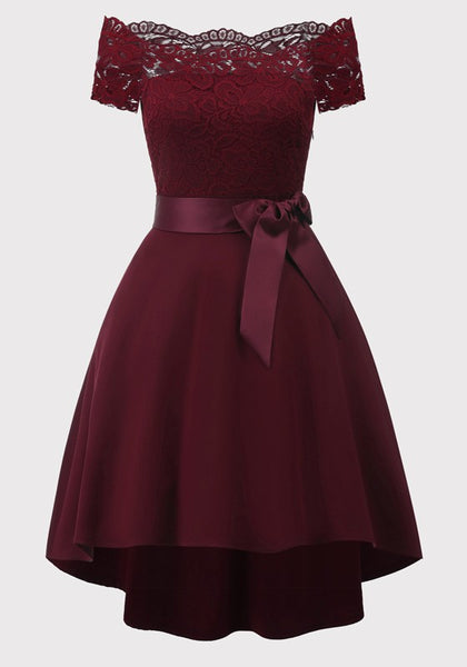 Burgundy Patchwork Lace Sashes Bow Pleated Off Shoulder Tutu Elegant Party Midi Dress
