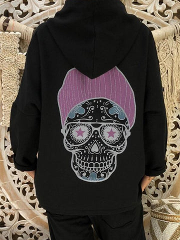 Black Patchwork Print Hooded Fashion Sweatshirt