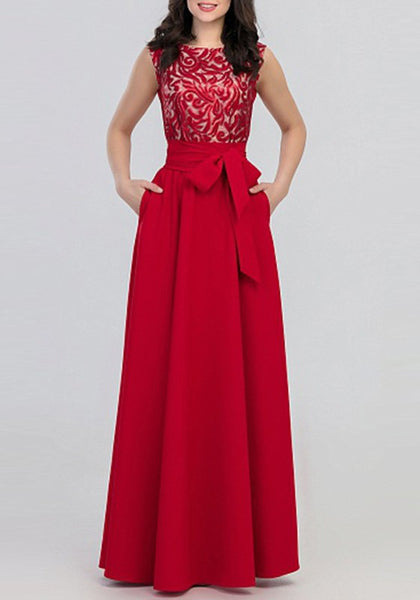 Red Patchwork Draped Belt Sleeveless Elegant Prom Evening Party Maxi Dress