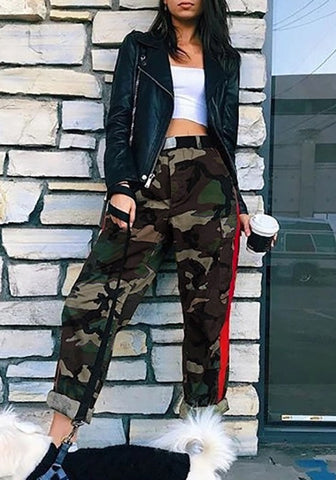 Army Green Camouflage Print Pockets High Waisted Oversize Casual Camo Long Pants