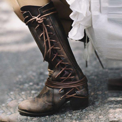 New Women Side Lace-up Low Heel Boots Vintage Comfort Boots