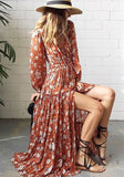 Nacarat Floral Print Draped Drawstring Slit Long Sleeve Bohemian Maxi Dress
