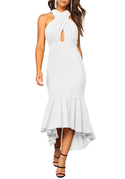 White Irregular Ruffle Cross Back Fashion Midi Dress