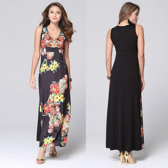 Black Floral Print A-line Sleeveless High Waisted Bohemian Maxi Dress