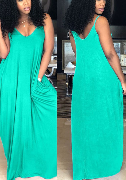 Green Pockets Spaghetti Strap Backless Deep V-neck Casual Party Maxi Dress