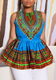 Blue Tribal Print Pleated Peplum High Waisted Bohemian Casual Blouse