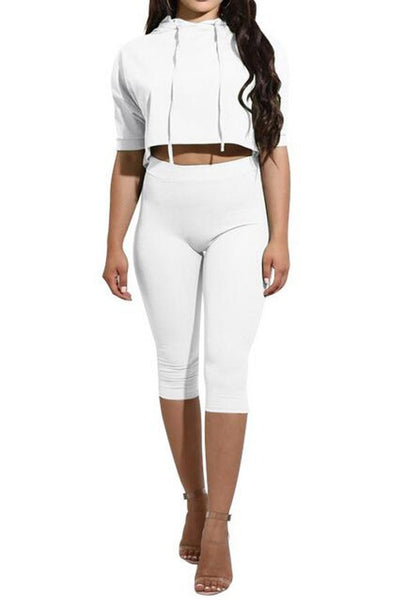 White Drawstring Half Sleeve High Waisted Two Piece Casual Hooded Short Jumpsuit