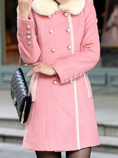 Pink Pockets Double Breasted Fur Collar Long Sleeve Elegant Coat