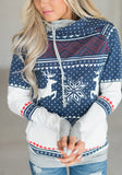 Blue Elk Print Drawstring Cowl Neck Hooded Long Sleeve Christmas Pullover Sweatshirt