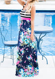 Blue Floral Striped Round Neck Sleeveless Maxi Dress