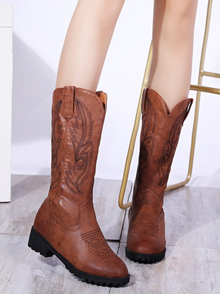 New Brown Round Toe Flat Fashion Mid-Calf Boots