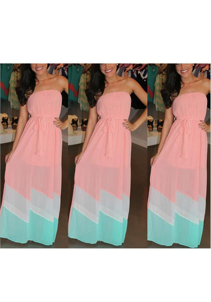 Green Patchwork Sashes Bandeau Party Maxi Dress