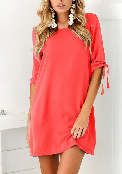 Red Plain Ribbons Round Neck Fashion Mini Dress