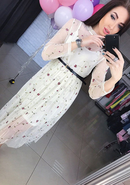 White Patchwork Grenadine Floral Embroidery Belt Vintage Midi Dress