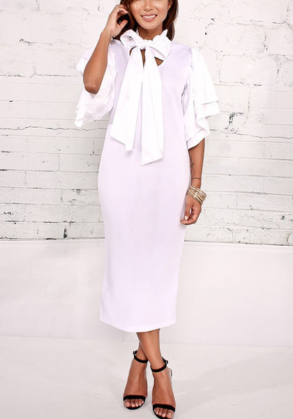 White Plain Ruffle U-neck Fashion Maxi Dress