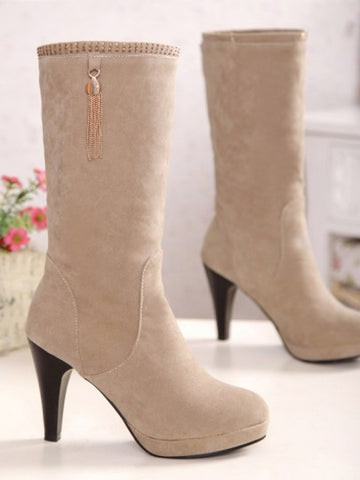 Beige Round Toe Chunky Tassel Fashion Mid-Calf Boots