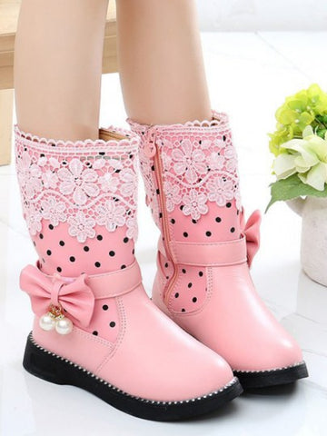 Pink Round Toe Bow Pearl Lace Flower Fashion Boots
