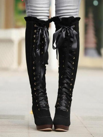 Black Round Toe Chunky Bow Fashion Knee-High Boots