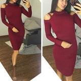 Wine Red Cut Out Beading Round Neck Fashion Midi Dress