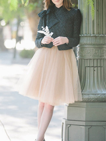 Apricot Pleated Grenadine High Waisted Party Tulle Midi Skirt