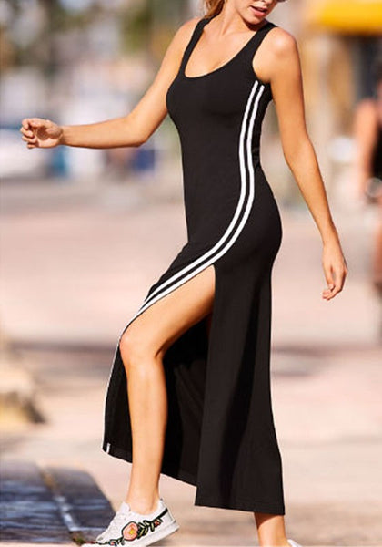 Black Striped Side Slit Shoulder-Strap U-neck Casual Going out Maxi Dress
