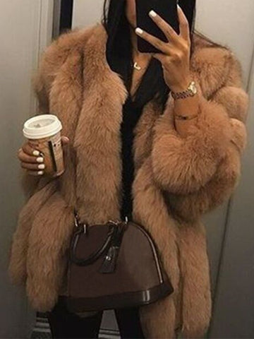 New Brown Faux Fur Collarless Long Sleeve Fashion Outerwear