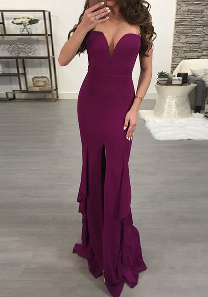 Purple Ruffle Slit Off Shoulder Backless Deep V-neck Banquet Party Maxi Dress