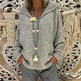 2018 New Hooded Plain Loose Long Sleeve Knitting Sweaters