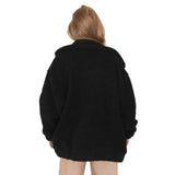 Light Brown Pockets Zipper Turndown Collar Long Sleeve Casual Coat