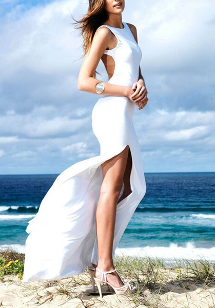 White Plain Draped Side Slit Backless Prom Evening Party Maxi Dress