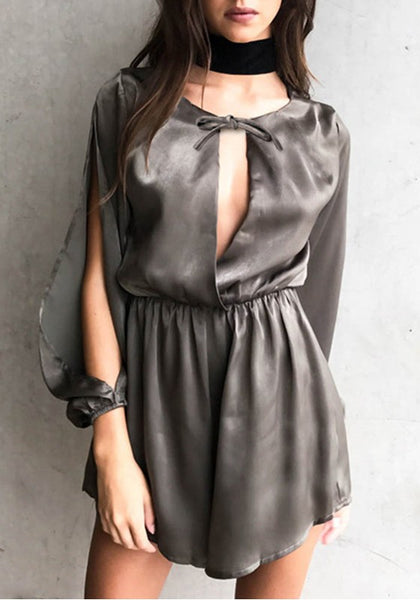 Silver Cut Out Draped Lace-up High Waisted Short Jumpsuit