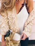 New Light Apricot Pompons No Buttons Knit Cute Casual Cardigan Sweater