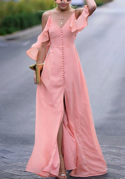 Pink Ruffle Cut Out Single Breasted Draped Slit Spaghetti Strap Bohemian Maxi Dress