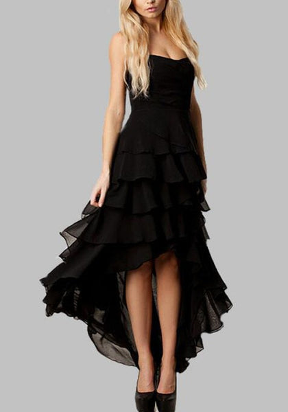 Black Bandeau Cascading Ruffle Backless Swallowtail High-low Engagement Photo Banquet Party Maxi Dress
