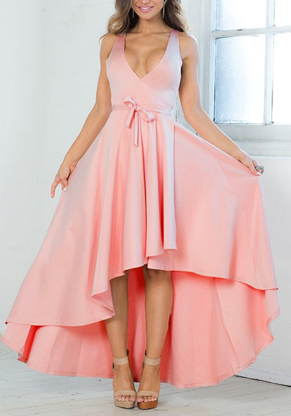 Pink Sashes Belt Draped Homecoming Party Peplum Plunging Neckline Maxi Dress