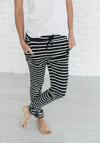 Black Striped Drawstring Waist Casual Long Pants