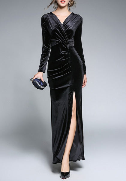 Black Zipper Side Slit Bodycon Fashion Maxi Dress